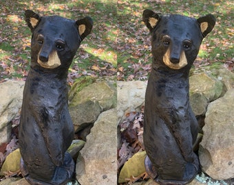Bear Chainsaw Carving, Wooden Bear, Bear Wood Carving, Black Bear, Hand Carved Wood Art, by Josh Carte, Log Home Decor, Made in Ohio, OOAK