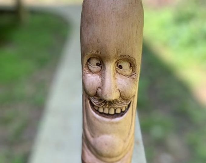 Halloween SALE Walking Stick, Wood Carving, Hand Carved Wood Art, by Josh Carte, Made in Ohio, Funny Face, Carving of a Face, Unique Sculptu
