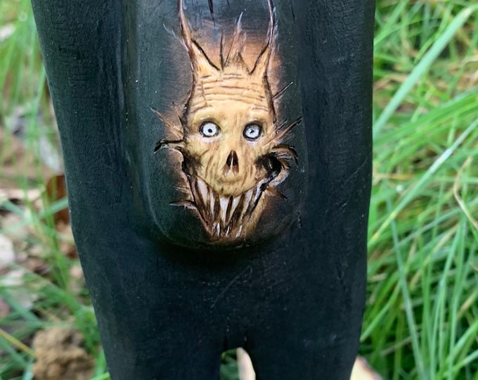 Abstract Sculpture, Wood Carving, Hand Carved Wood Art, Dark Art, by Josh Carte, Made in Ohio, Macabre Art