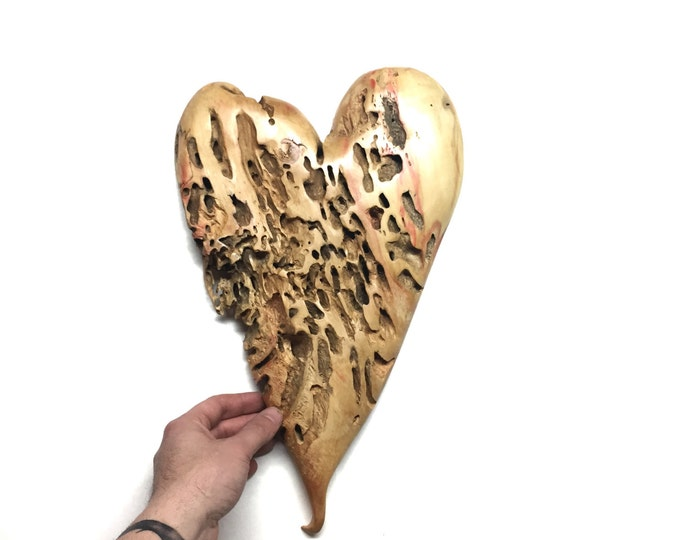 A Personalized 5th Anniversary Wood Gift, Hand Carved Heart, Wood Carving Sculpture, Gift for Her, Handmade Woodworking, Original Art