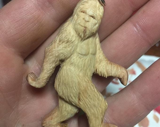 Bigfoot Pendant, Original, Sasquatch Necklace, Yeti Pendant, Wood Carving, Hand Carved Wood Art, by Josh Carte, Made in Ohio