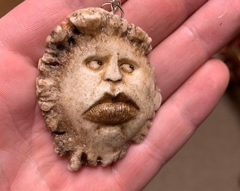 Halloween SALE Handmade Pendant, Pendant Necklace, Carving of a Face, By Josh Carte, Wearable Art, Big Lips, Made in Ohio