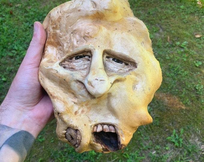 Wood Carving, Strange Wood Art, Hand Carved Wood Art, Handmade Woodworking, by Josh Carte, Wood Wall Art, Wood Spirit Carving