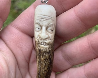 Halloween SALE Bone Carving, Antler Carving, Antler Pendant, Bone Necklace, Antler Necklace, Carving of a Face, by Josh Carte, Deer Antler A