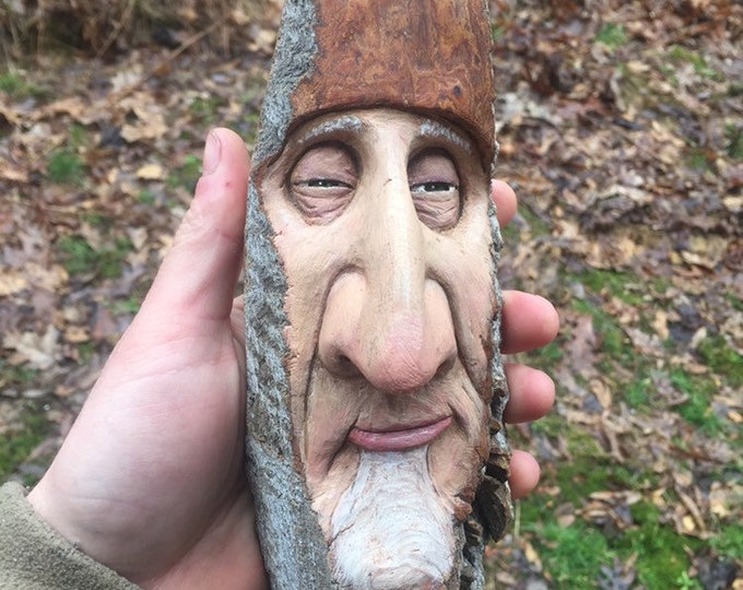 Wood Carving, Carving of a Face, by Josh Carte, Made in Ohio, Hand Carved Wood Art, Unique Sculpture, Wood Wall Art