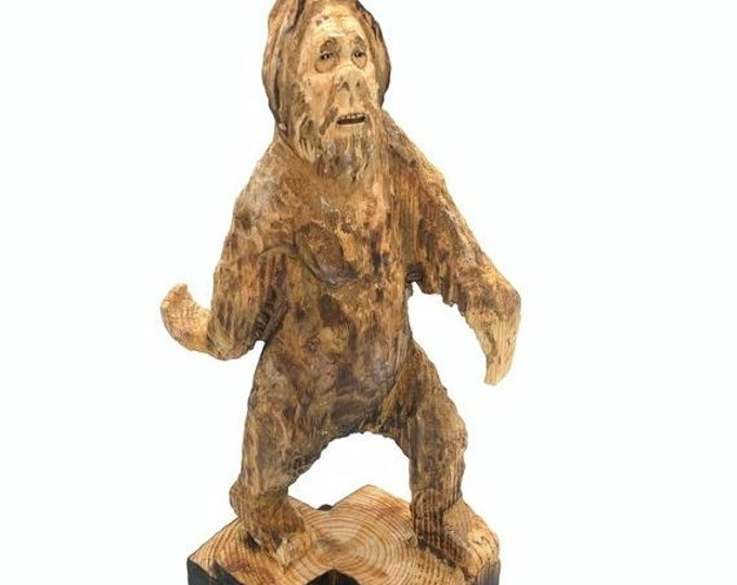 SALE New Year Bigfoot Wood Carving, Sasquatch Chainsaw Carving, Yeti sculpture, Hand Carved Wood Art, by Josh Carte, Made in Ohio, Bigfoot A