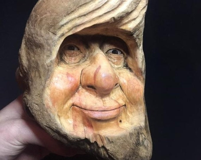 SUMMER SALE Wood Spirit Carving, Wooden Face Carving, Wood Wall Art, Hand Carved Art, by Josh Carte, Perfect Wood Gift, Chainsaw Carving