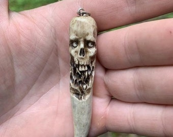 Halloween SALE Skull Pendant, Deer Antler Art, Bone Pendant, Bone Art, Bone Necklace, Skull Necklace, Macabre Art, by Josh Carte, Hand Carve