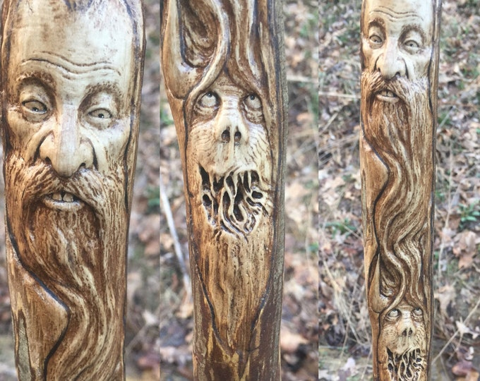 Carved Walking Stick, Wood Carving by Josh Carte, Wood Spirit Carving, Monster, Creature, Perfect Wood Gift, Hand Carved Art, OOAK, Beard, O