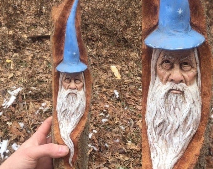 SUMMER SALE Wizard Wood Carving, Wizard Hat, Made in Ohio, Magical Wood Carving, Carving of a Face, Hand Carved Wood Art, by Josh Carte