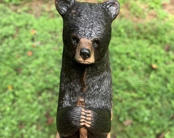 25% Off Sale Bear Walking Stick, Wood Carving, Hiking Stick, Wood Cane, Bear Carving, Chainsaw Carving, Hand Carved Wood Art, by Josh Carte,