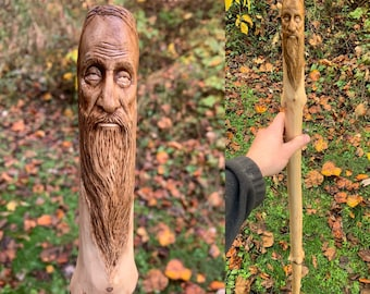 Walking Stick Wood Carving, Hiking Stick, Old Man with Beard, Mountain Man, by Josh Carte, Hand Carved Wood Art, Made in Ohio, Unique Art