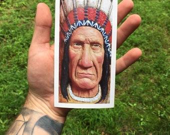 Bumper Sticker, Decal, Native American, Notebook Sticker, Indian, Sticker, Original Art, by Josh Carte, Coffee Cup Sticker, Laptop Sticker