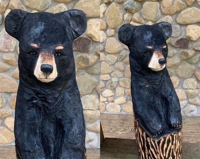 Halloween SALE Bear Chainsaw Carving, Bear Wood Carving, Bear in a Log, by Josh Carte, Bear Art, Black Bear, Handmade Woodworking, Made in O