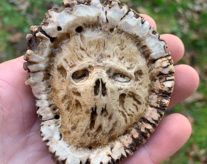 Skull Carving, Elk Antler Pendant, Dark Art, by Josh Carte, Skull Necklace, Macabre Art, Hand Carved Bone Art, Perfect Gift, Made in Ohio