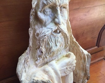 25% Off Sale Wood Carving, Wood Spirit Carving, Hand Carved Wood Art, Amazing Birthday Gift, Chainsaw Carving, Log Home Decor