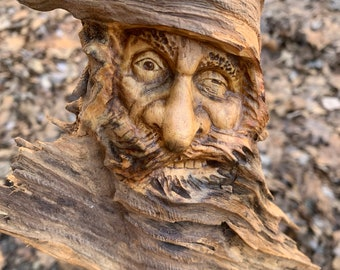 Wood Spirit Carving, Carving of a Face, Wood Carving, Hans Carved Wood Art, Wood Wall Art, by Josh Carte, Old Man with Beard