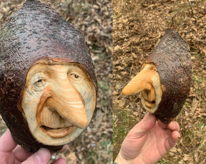 Wood Carving, Wood Wall Art, Wood Spirit Carving, Hand Carved Wood Art, Carving of a Face, Big Nose Sculpture, by Josh Carte, Unique Wood
