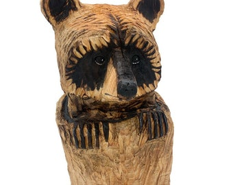 Raccoon Chainsaw Carving, Hand Carved Wood Art, Handmade Woodworking, Carving of a Raccoon, by Josh Carte, Made in Ohio, Rustic Home Decor