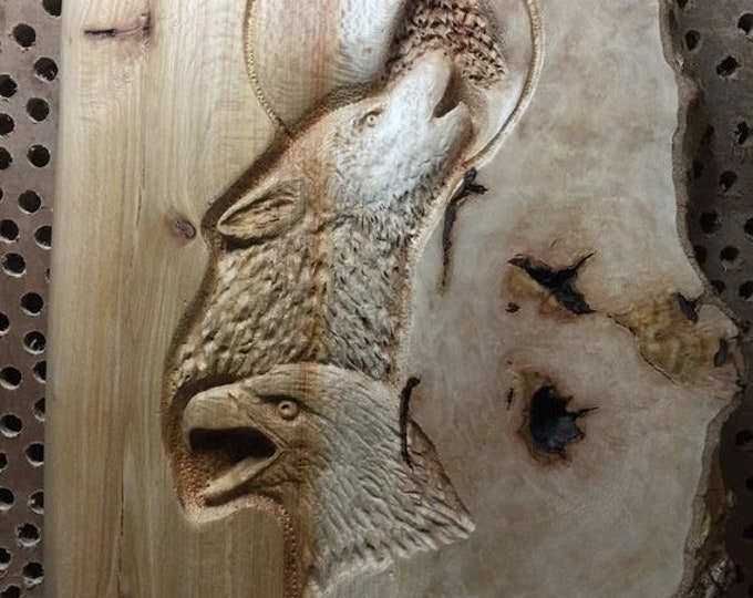 SUMMER SALE Eagle, Wolf, Wood Carving, Hand Carved Wood Art, Lodge Decor, Log Home Decor, Perfect Wood Gift, Sculpture, Handmade Woodworking