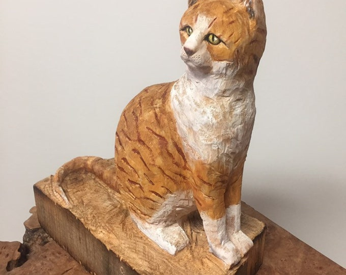 Cat Wood Carving, Cat Sculpture, Carving of a Cat, by Josh Carte, Made in Ohio, Tabby Cat, Hand Carved Wood Art