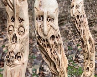 Walking Stick, Wood Carving, Macabre Art, Dark Art, Hiking Stick Carving, Carved Walking Stick, by Josh Carte, Skull Carving