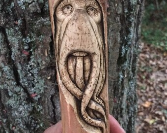 SUMMER SALE SALE, Walking Stick, Davy Jones, Wood Carving, Handmade Woodworking by Josh Carte, Wood Sculpture, Pirates of the Caribbean, can