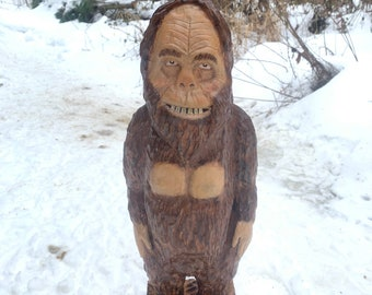 Bigfoot Chainsaw Carving, Bigfoot Wood Carving, Bigfoot Log Art, Sasquatch Wood Carving, by Josh Carte, Hand Carved Bigfoot, Yeti Carving