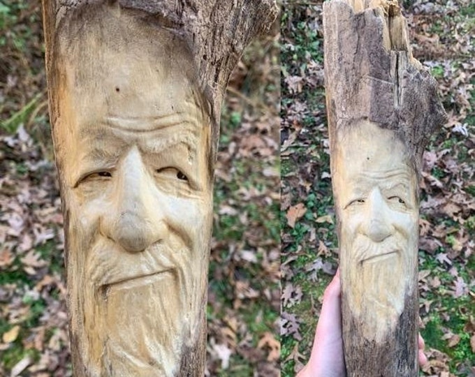 SALE New Year Driftwood Carving, Wood Spirit Carving, Wood Carving, Carving of a Face, Wood Wall Art, by Josh Carte, Handmade Woodworking, D