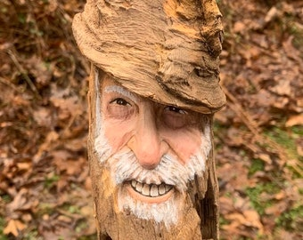 Wood Spirit Carving, Wood Carving, Carving of a Face, Wood Wall Art, by Josh Carte, Hand Carved Wood Art, Old Man Carving, Made in Ohio