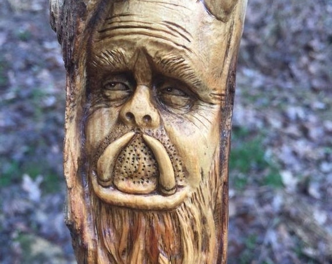 Halloween SALE Wood Spirit Carving, Monster, Creature Sculpture, Hand Carved Wall Art, Perfect Wood Gift, by Josh Carte, OOAK Wood Art, Face