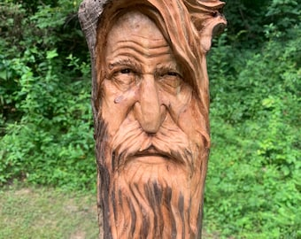 Wood Carving, Driftwood Carving, Wood Spirit Carving, Carving of a Face, Wood Wall Art, Hand Carved Wood Art, by Josh Carte, Old Man Carving