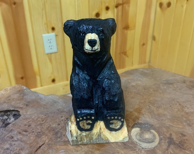 Bear Chainsaw Carving, Mini Bear, Bear Wood Carving, Black Bear sculpture, Hand Carved Wood Art, by Josh Carte, Wooden Bear, Log Home Decor