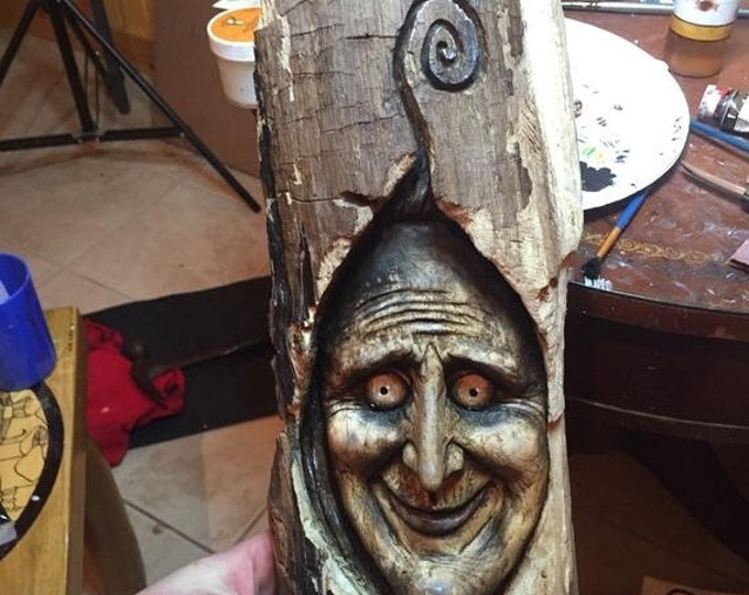 Halloween SALE Spooky Wood Carving, Perfect for Halloween, Creepy Wood Sculpture, Wall Art Decor by Josh Carte, Handmade Woodworking, Chains