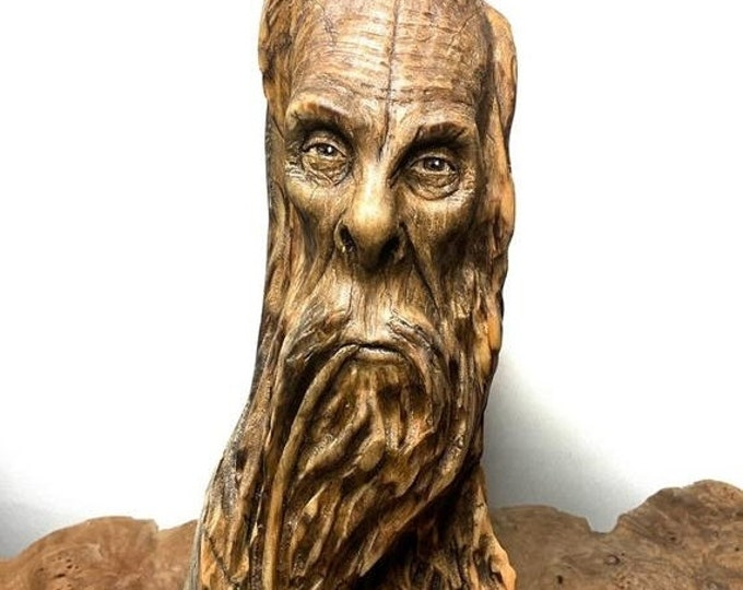 SALE New Year Bigfoot Carving, Wood Carving, Carving of Sasquatch, Carving of a Face, Pipe Smoker, by Josh Carte, Made in Ohio, Bigfoot Scul