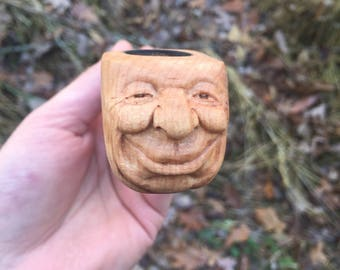 Tobacco Pipe, Wood Carving, Wood Sculpture, Handmade Woodworking, Hand Carved Art by Josh Carte, OOAK, Made in Ohio, Unique Wood Art, Gift