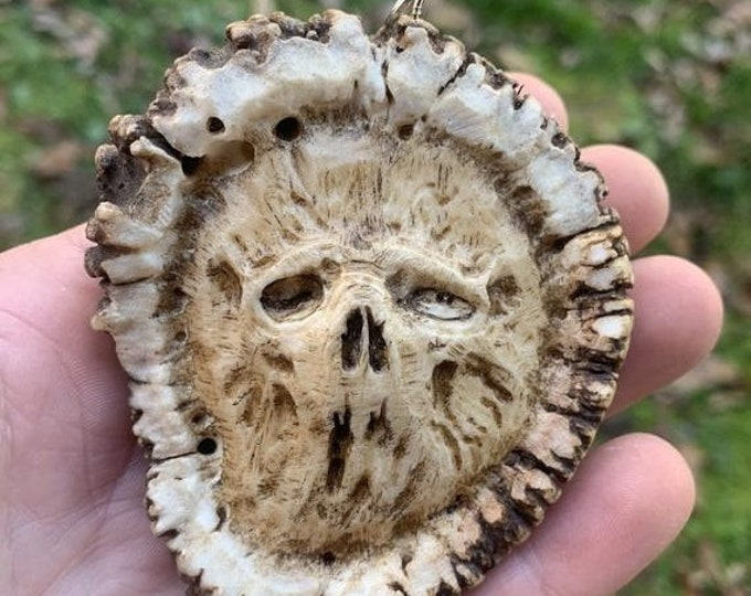 SALE New Year Skull Carving, Elk Antler Pendant, Dark Art, by Josh Carte, Skull Necklace, Macabre Art, Hand Carved Bone Art, Perfect Gift, M