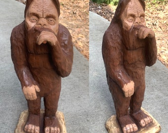 Bigfoot Wood Carving, Sasquatch Chainsaw Carving, Hand Carved Wood Art, by Josh Carte, Chainsaw Carved Bigfoot, Rocky Mountain Bigfoot