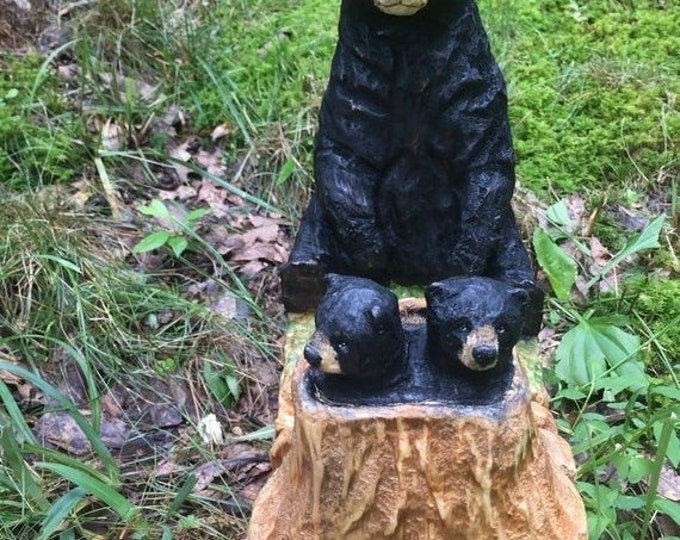 SUMMER SALE Bear Carving, Wood Carving, Chainsaw Carving by Josh Carte, Wooden Bear Carving, OOAK Wood Art, Amazing Gift for Bear Lover