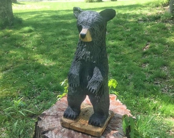 SUMMER SALE Bear Chainsaw Carving, Black Bear, Wooden Bear, Carved Bear, Hand Carved Wood Art, by Josh Carte, Made in Ohio, Chainsaw Art, Be