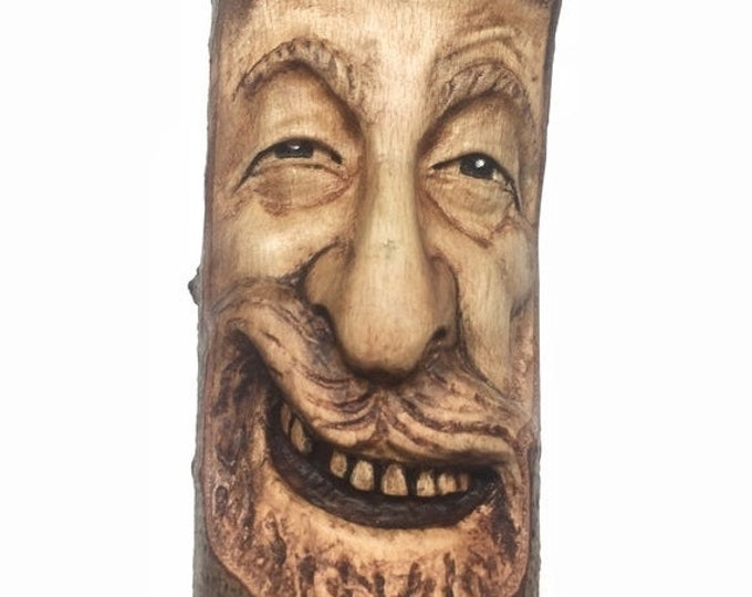 Halloween SALE Wood Spirit Carving, Wooden Sculpture, Hand Carved, by Josh Carte, Perfect Wood Gift, Handmade Woodworking, OOAK Wood Art, Fa