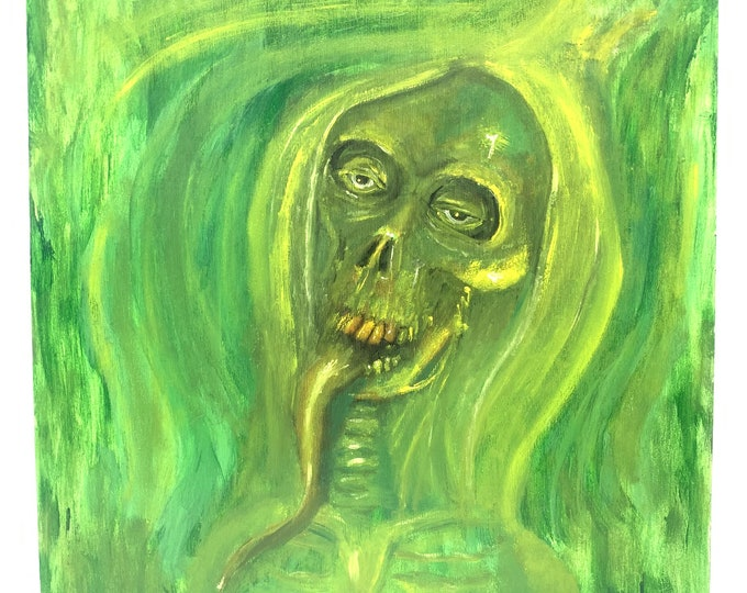 Oil Painting, Wood Panel, Skull Painting, Macabre Art, Original Oil Painting, by Josh Carte, Hand Painted Art, Wall Art, Oil on Wood Panel