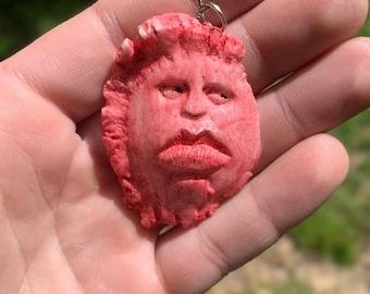 Halloween SALE Pendant, Red Pendant, by Josh Carte, Functional Art, Cast Pendant of Original Art, Carving of a Face, Unique Necklace, Made i