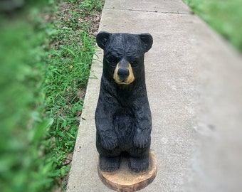 Bear Chainsaw Carving, Bear Wood Carving, Chainsaw Carved Bear, Handmade Woodworking, by Josh Carte, Black Bear