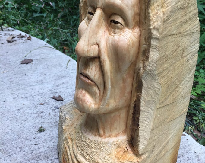 SALE, 1/2 off, Native American Wood Carving, Indian Sculpture, Chief Bust, Handmade Woodworking, Hand Carved Wood Art, Face Carving, Perfect