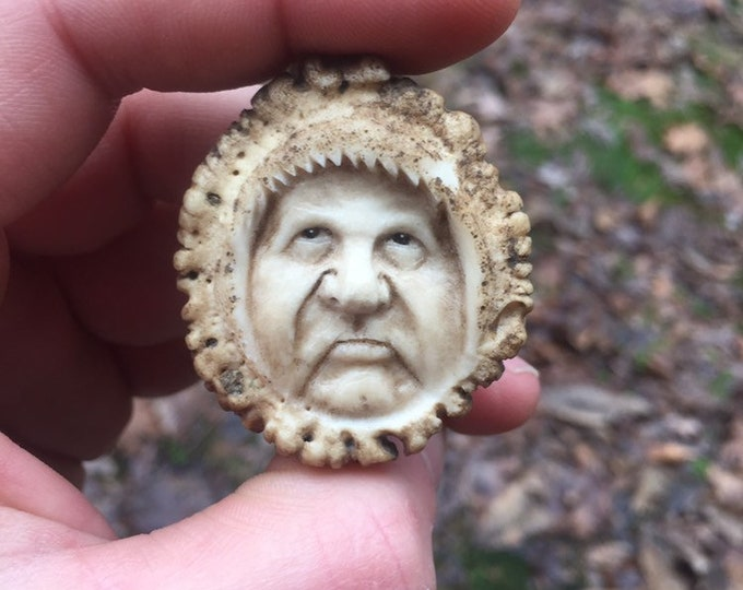 Bone Pendant, Antler Art, Carving of a Face, Bone Necklace, Made in Ohio, by Josh Carte, Hand Carved Art