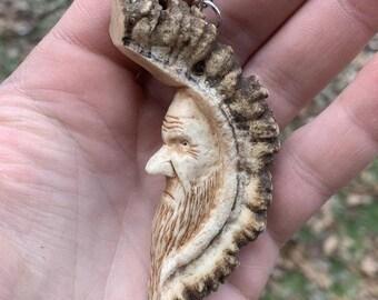 25% Off Sale Elk Antler Pendant, Bone Pendant, Hans Carved Bone Art, Bone Carving, Carving of a Face, by Josh Carte, Made in Ohio