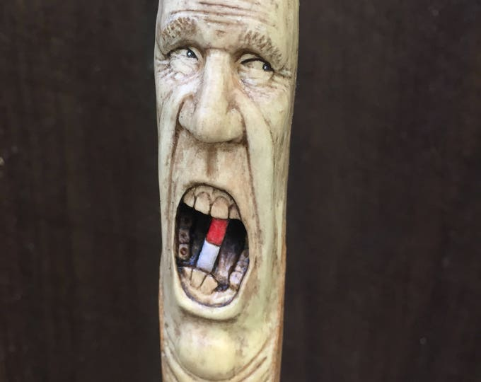 Carved Walking Stick, Wood Carving Cane, Wood Spirit, Hand Carved Wood Art, Wood Gift for Him, Handmade Woodworking by Josh Carte