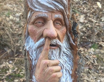 SUMMER SALE Wood Carving, Wood Spirit Carving, Chainsaw Carving, Made in Ohio, by Josh Carte, Carving of a Face, Nose Picker