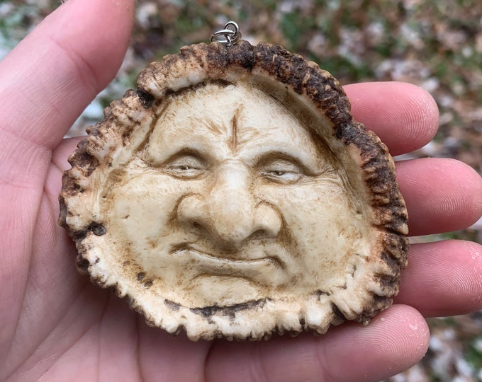 Elk Antler Carving, Bone Carving, Bone Jewelry, Antler Necklace, by Josh Carte, Hand Carved Art, Unique Sculpture, OOAK Carving, Face Art